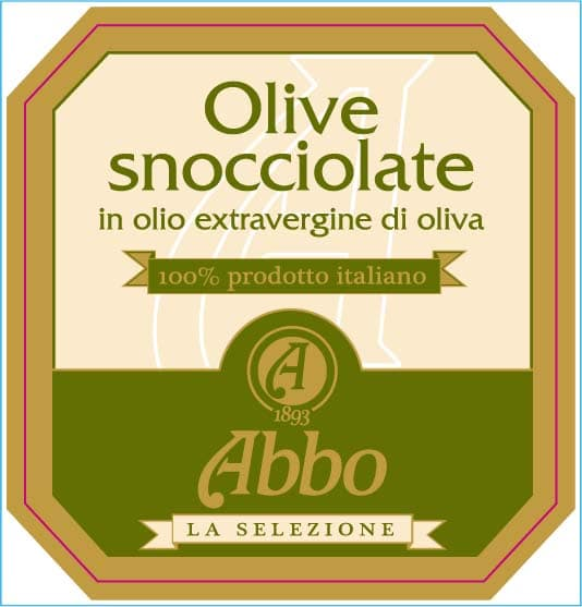 Etichetta della confezione di olive snocciolate Abbo
