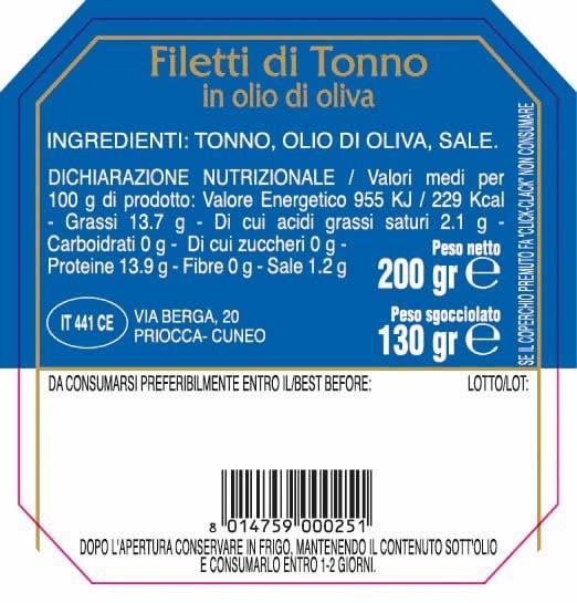 Filetti di tonno in olio di oliva Abbo