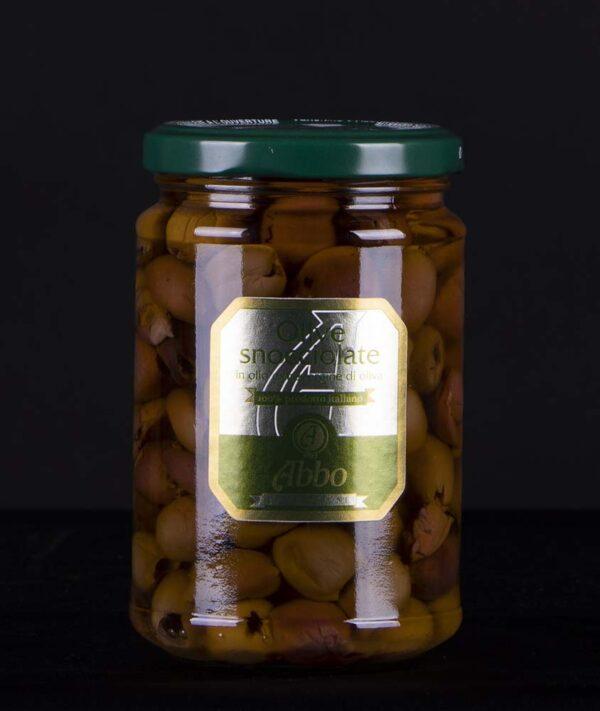 Olive nere snocciolate qualità Riviera in olio evo Abbo