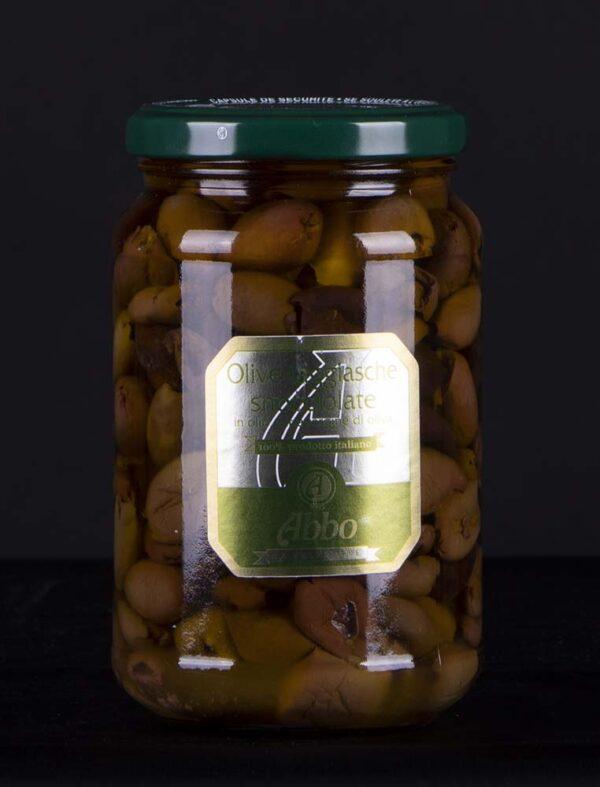 Olive nere taggiasche snocciolate in olio extravergine di oliva Abbo