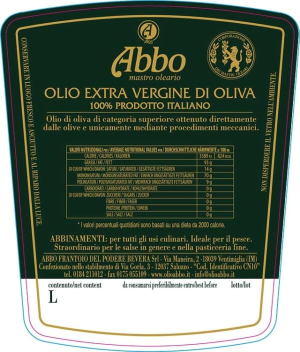 etichetta olio extravergine di oliva 100% italiano Abbo