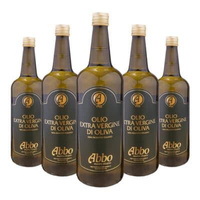 box di olio extravergine di oliva italiano da 5 bottiglie